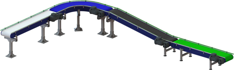 Convoyeur PVC-PU avec bandes alimentaires et toiles métalliques